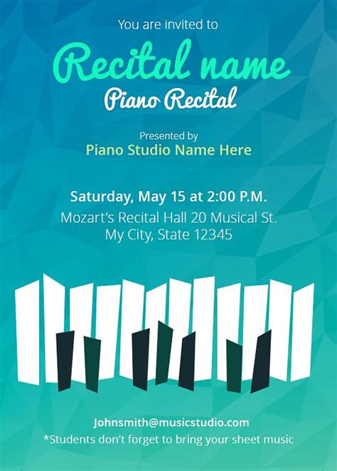 Customize Your Own Recital Invitations 5 Templates Free Piano Recital Poster Template