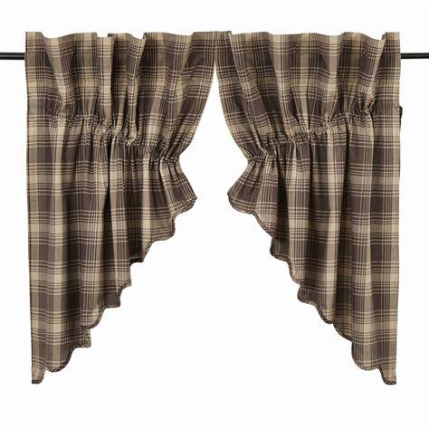 plaid swag curtains dawson plaid prairie swag curtains pair www