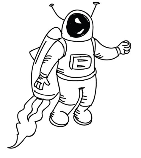 jet pack coloring pages space man doodle clip art library
