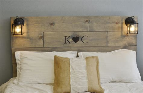 wooden headboards rustic wood headboard with custom wood engraved initials and
