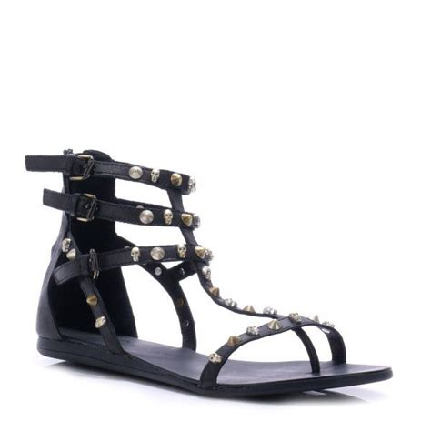 black flat strappy shoes ash onno flat strappy sandals in black lyst