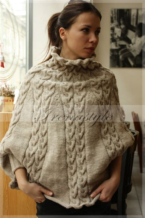 knitting pattern poncho with sleeves poncho made to order knit cardigan jacket poncho