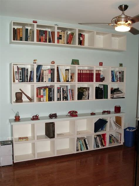 horizontal floating billy bookshelves  small spaces