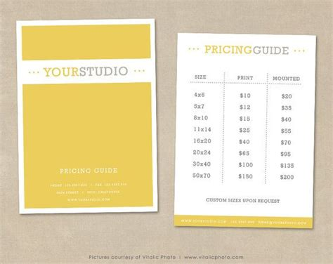 free photography pricing guide template 17 best ideas about photography price list on