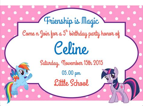 jual undangan my pony birthday invitation ulang