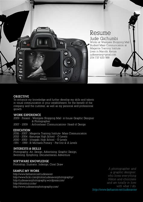 photographer curriculum vitae format my resume on behance