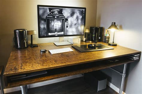 diy editing desk how i built a custom desk and wire free workspace for my