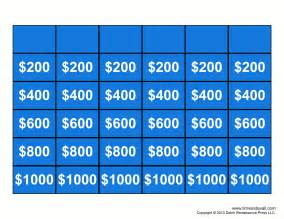 Jeopardy Printable Template by Blank Jeopardy Template White Gold