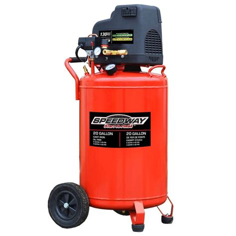 speedway 20 gal free vertical compressor with no flat tires 52401 the home depot