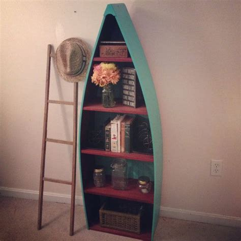 rustic boat bookshelf rustic rowboat bookshelf in turquoise and red distressed
