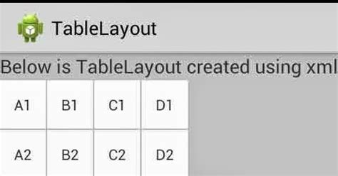 table layout in android programmatically android java and other programming language sle code