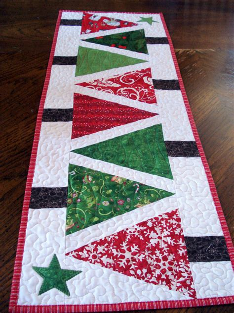quilted table runner modern christmas trees narrow runner red