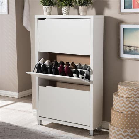 Display Kitchen Cabinets by Baxton Studio Simms Wood Modern Shoe Cabinet In White
