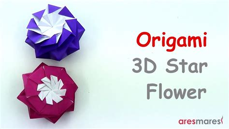 Single Sheet Origami Flower - origami eight pointed 3d flower intermediate
