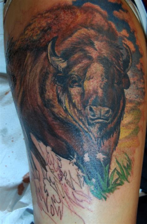 buffalo tattoo buffalo bison leg brownresonanteye spokane