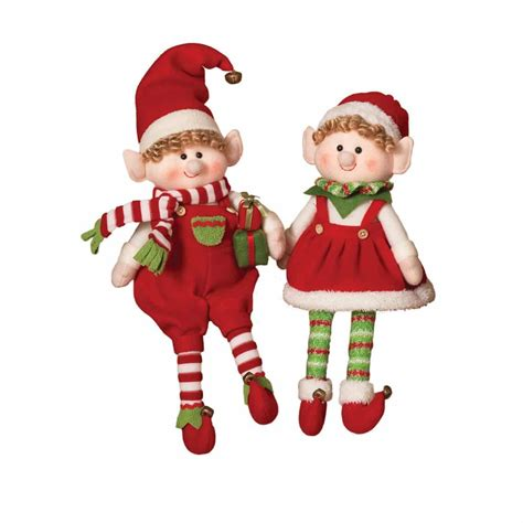 plush elf figurine shelf sitters set of 2 northwoods