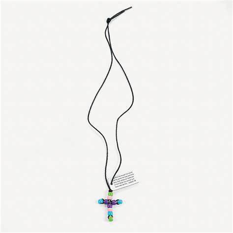 beaded pastel 3 16 cross necklace craft kit