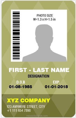 vertical id card template word 8 best professional design vertical id card templates