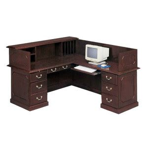 l shaped desk with hutch right return dmi governors 7350 l shaped double pedestal reception desk