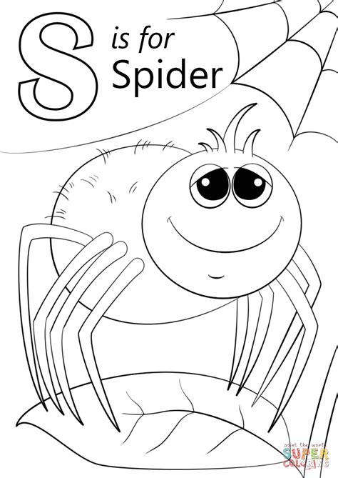 letter s coloring pages letter s is for spider coloring page free printable
