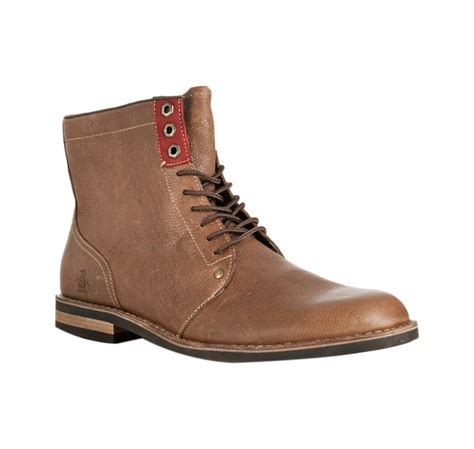 penguin mens boots original penguin drago leather jerry jeff lace up boots in