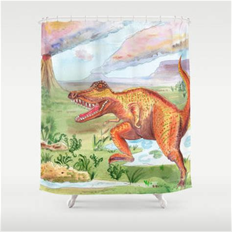 t rex bathroom t rex shower curtain dinosaur from artfullyfeathered on