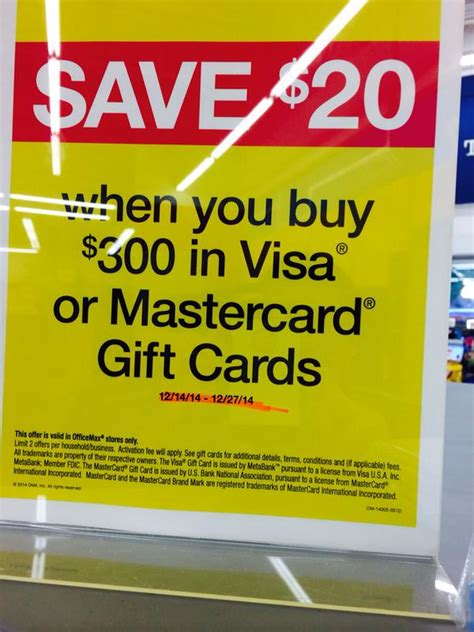 Gift Cards Visa Or Mastercard - office max spend 300 on visa mastercard gift cards save 20 doctor of credit