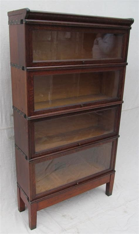globe wernicke barrister bookcase antique arts crafts mission oak four section globe