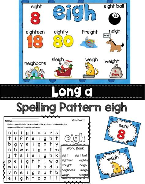pattern words for first grade long a eigh ea ei and ey spelling patterns word work