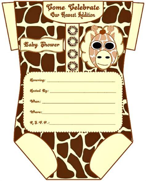 Giraffe Print Baby Shower Ideas by Onesie Baby Shower Invitations For