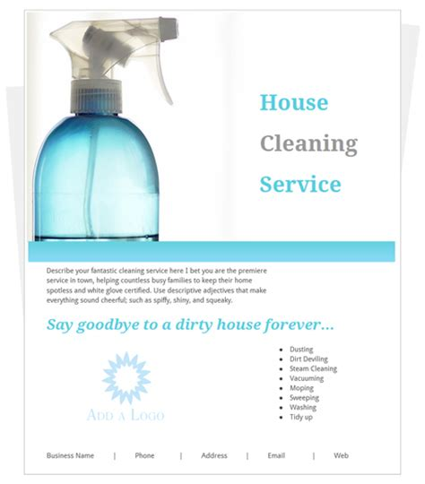 Templates For House Cleaning Flyers | free house cleaning flyer template by cleaningflyer com