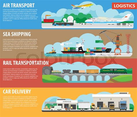 logistics infographics for shipment cargos types banners for air freight or aircraft transport