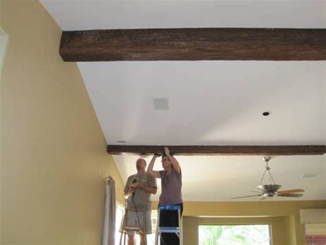 Installing Ceiling Beams by Installing Wood Timber Beams Faux Wood Workshop