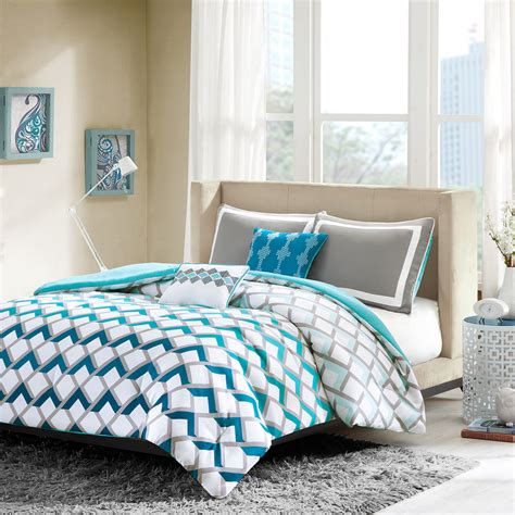 teal and grey chevron bedding modern sporty blue teal aqua grey chevron stripe comforter