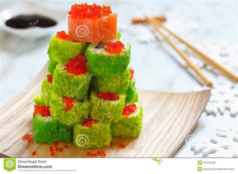 maki sushi roll for christmas stock photo image 44575436