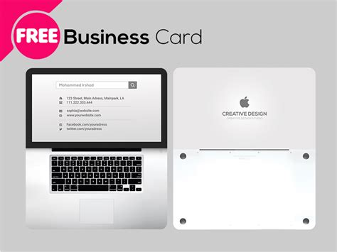 Free Psd Laptop Business Card Template Free Psd Ui Download Business Card Website Template Free