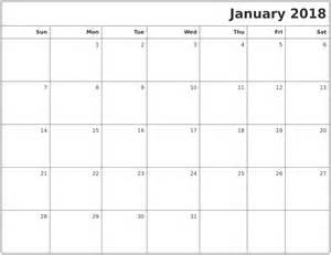 Calendar 2018 Empty January Calendars