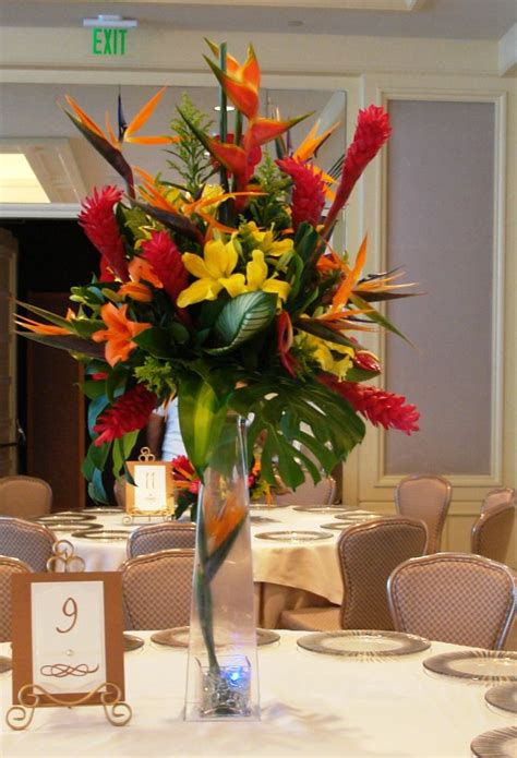 tropical centerpiece mount nittany society ideas pinterest