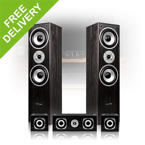 5 0 surround sound speakers black finish home cinema hi fi