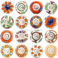 Decorative Knobs For Kitchen Cabinets Decorative Boho Bohemian Indian Ceramic Cupboard Cabinet Door Dresser Knobs Pull Ebay