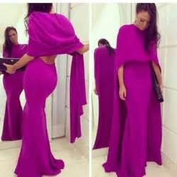 2016 two pieces prom dresses with cape fuschia long