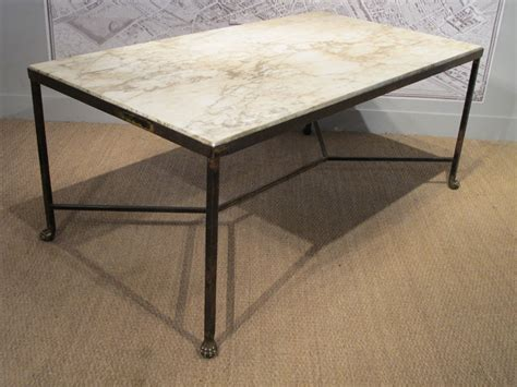 marble top dining table with bench 1960s french wrought iron and marble top dining table