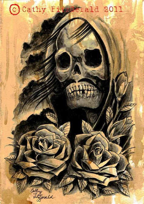 a4 grim reaper with roses skull skeleton tattoo art print