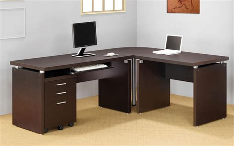 design essentials home office corner desk for two computers whitevan