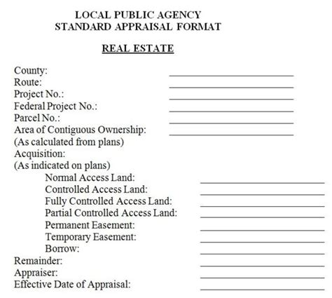 Rental Appraisal Letter Exle 136 8 Local Agency Land Acquisition Engineering Policy Guide