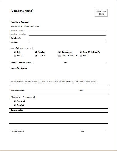 Employee Vacation Request Form Download At Http Www Doxhub Org Employee Vacation Request Form Request For Template Microsoft