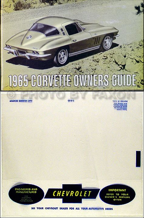 1965 corvette sting ray reprint owner s manual package