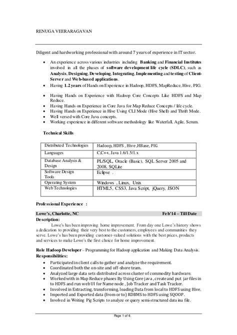 Hadoop Developer Resume by Renuga Veeraragavan Resume Hadoop
