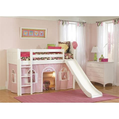 White Bunk Bed With Slide White Low Loft Playhouse Bed With Slide And Ladder