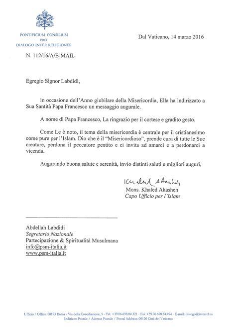 lettere di risposta risposta vaticano alla lettera di auguri per il